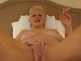 Hot Blonde Granny Smoking 120s and Playing